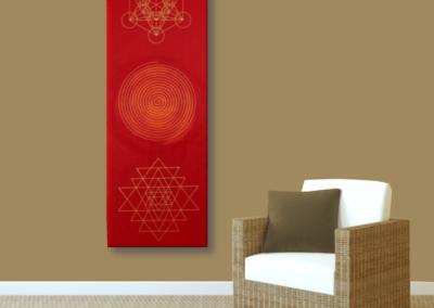 Wandbild Energiebild Weisheit und Wohlstand Sri Yantra Gold Spirale_braun