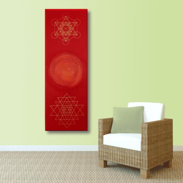 Wandbild Energiebild Weisheit und Wohlstand Sri Yantra Gold Spirale_lindgrün
