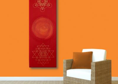 Wandbild Energiebild Weisheit und Wohlstand Sri Yantra Gold Spirale_orange