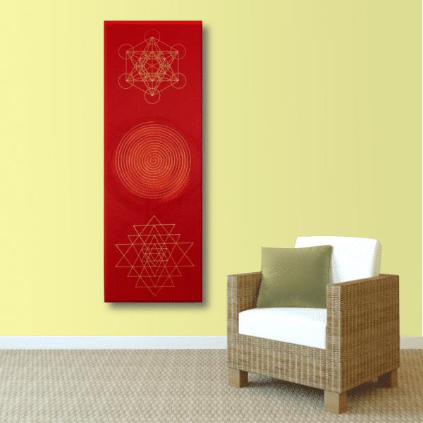 Wandbild Energiebild Weisheit und Wohlstand Sri Yantra Gold Spirale_sand