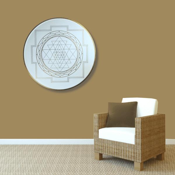 Wandbild Energiebild Yantra für Erfolg Sri Yantra Gold_braun