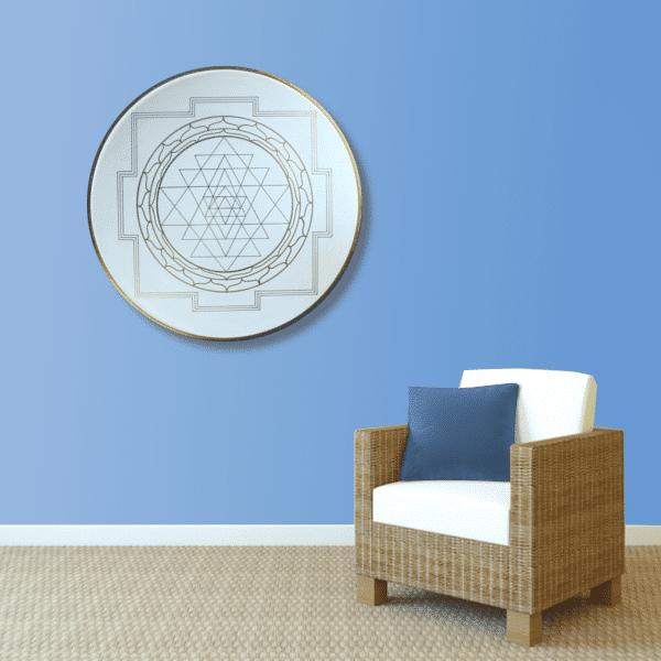 Wandbild Energiebild Yantra für Erfolg Sri Yantra Gold_hellblau