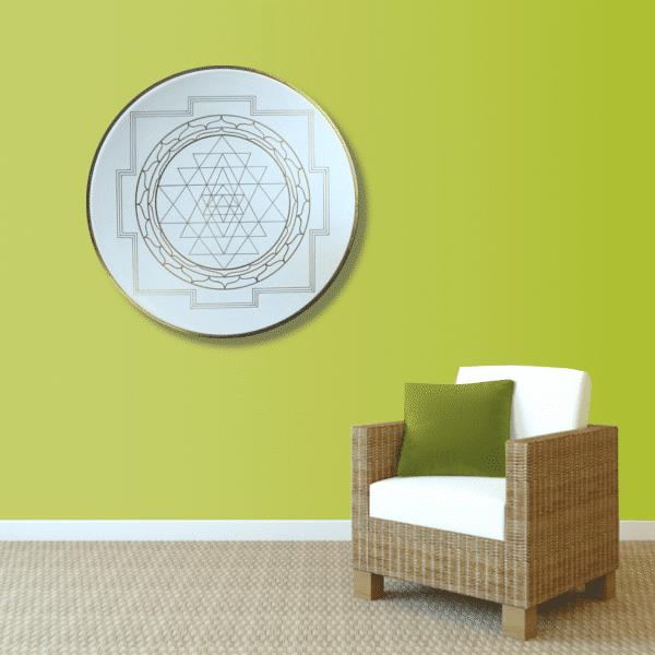 Wandbild Energiebild Yantra für Erfolg Sri Yantra Gold_hellgrün