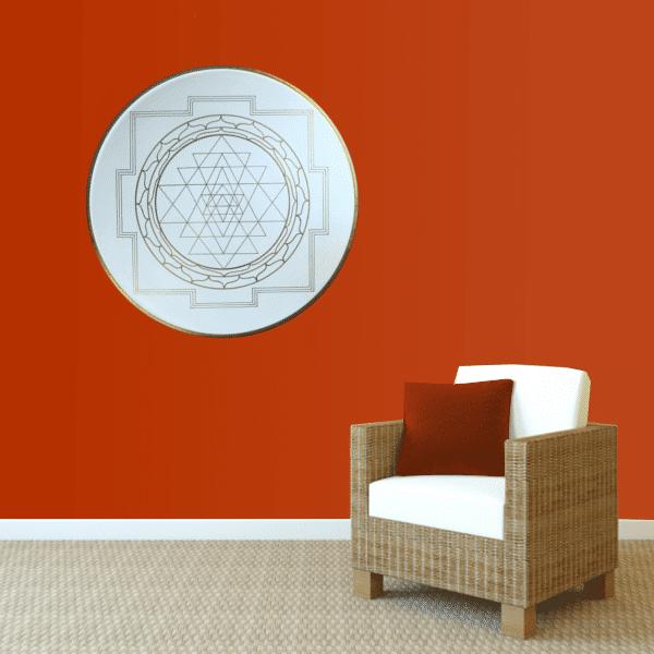 Wandbild Energiebild Yantra für Erfolg Sri Yantra Gold_rot