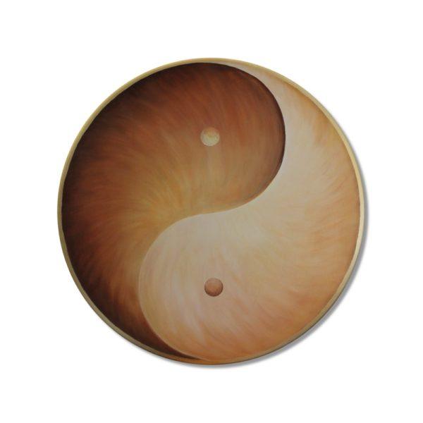 Wandbild Energiebild Yin Yang Erde brauns gold_Frontalbild