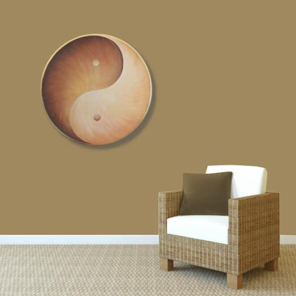 Wandbild Energiebild Yin Yang Erde brauns gold_braun