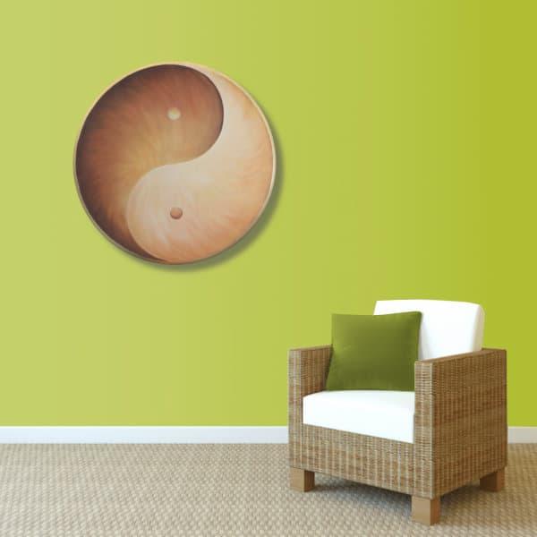Wandbild Energiebild Yin Yang Erde brauns gold_grün