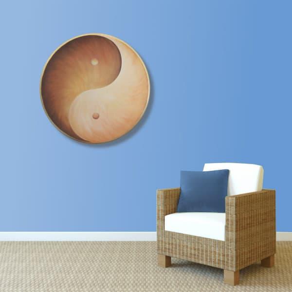 Wandbild Energiebild Yin Yang Erde brauns gold_hellblau