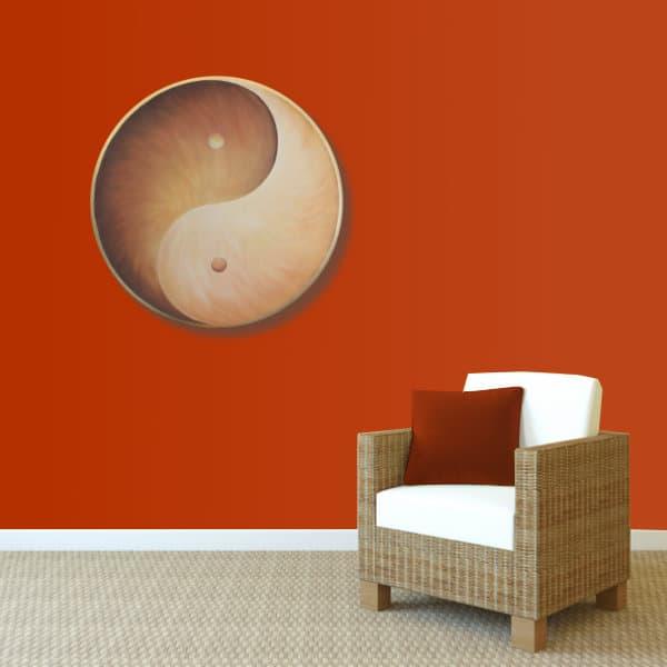 Wandbild Energiebild Yin Yang Erde brauns gold_rot