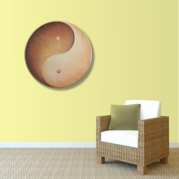Wandbild Energiebild Yin Yang Erde brauns gold_sand