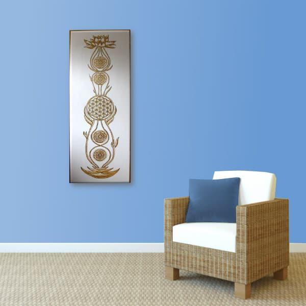 Wandbild Kundalini Gold Blume des Lebens_hellblau