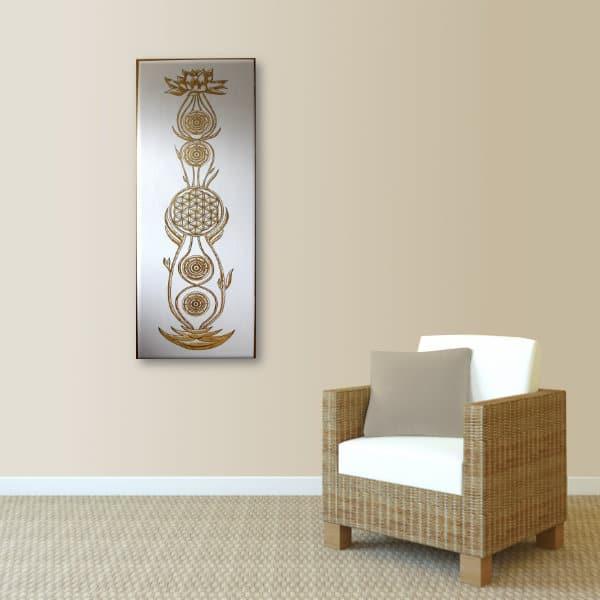 Wandbild Kundalini Gold Blume des Lebens_hellbraun