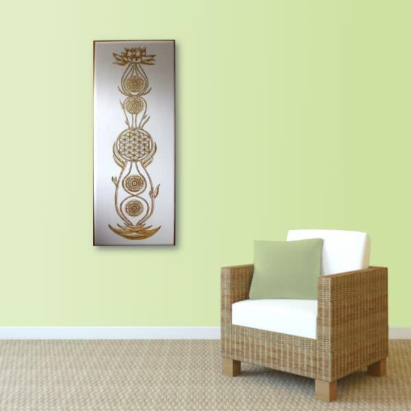Wandbild Kundalini Gold Blume des Lebens_lindgrün