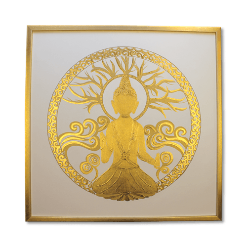 Leinwandbild 24 Karat Blattgold goldener Buddha_60x60cm