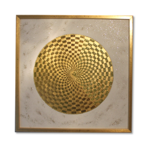 Leinwandbild Pranagenerator Goldkugel ab Größe 50cm x 50cm - 24 Karat Gold Wandbild handgefertigt_Frontal