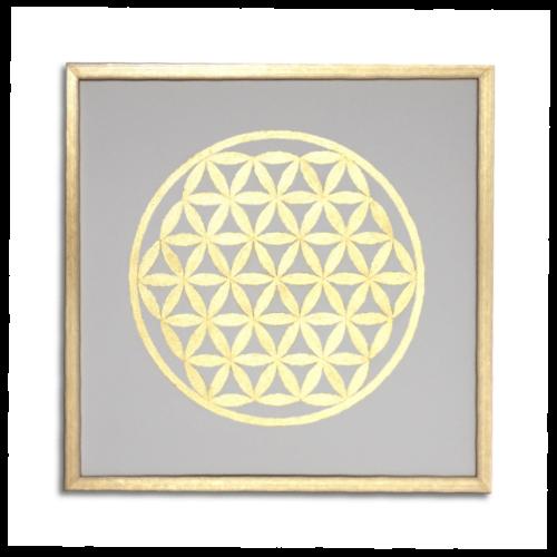 Leinwandbild Blume des Lebens 24 Karat Blattgold