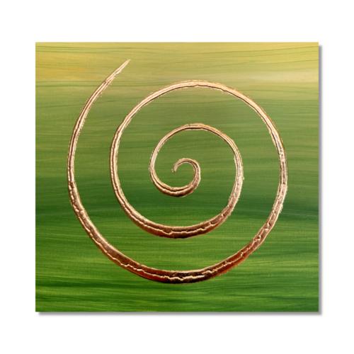 Wandbild 3D Spirale grün 24 Karat Blattgold_Frontalbild