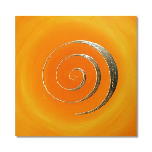 Wandbild 3D Spirale orange 24 Karat Blattgold_Frontallbild