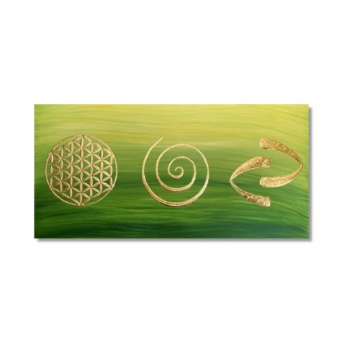 Wandbild Blume des Lebens Spirale Gold Dreaming_Frontalbild