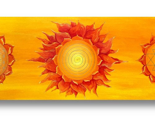 Wandbild Power of Symbols 2 Blume des Lebens Spirale Sri Yantra Gold_Frontalbild